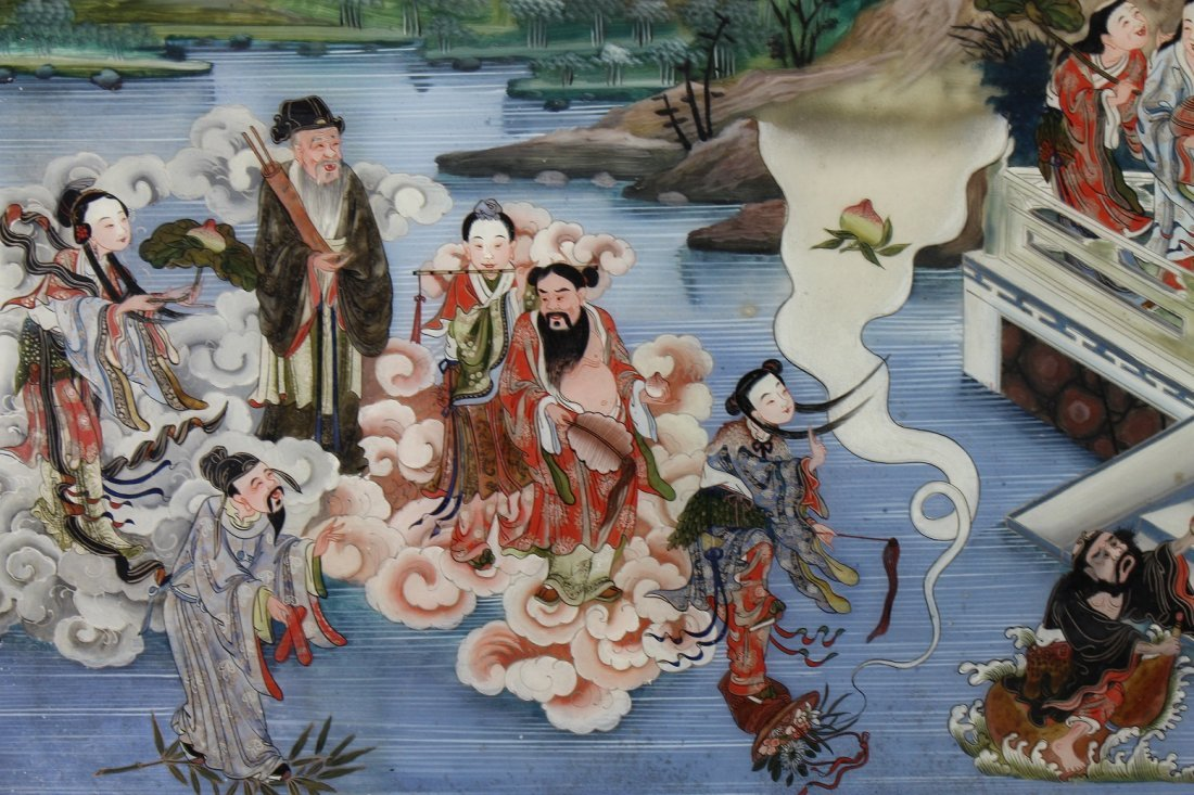 Large Chinese Reverse Painted Glass Courtyard Scene - 2