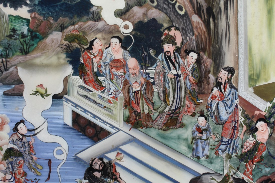 Large Chinese Reverse Painted Glass Courtyard Scene - 3