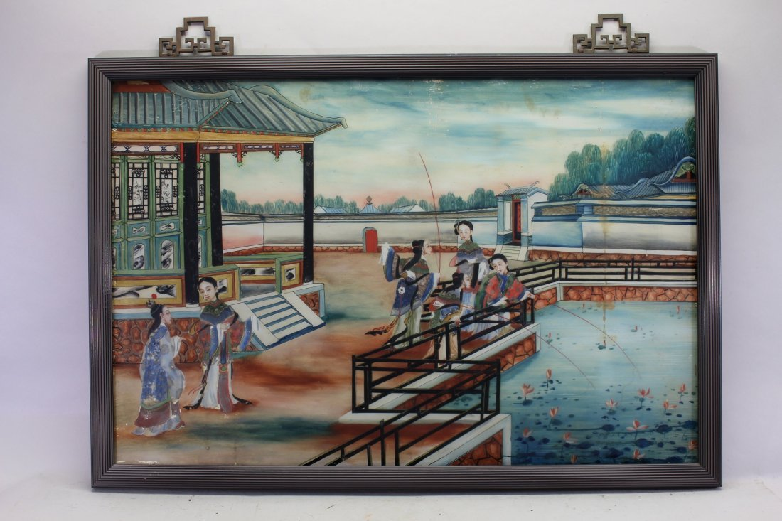 Antique Chinese Reverse Painted Glass Pavilion Scene