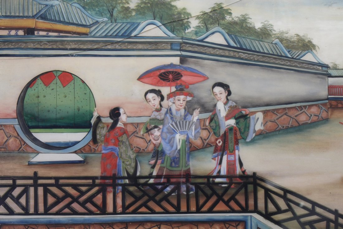 Chinese Reverse Painted Courtyard Scene (as is) - 2