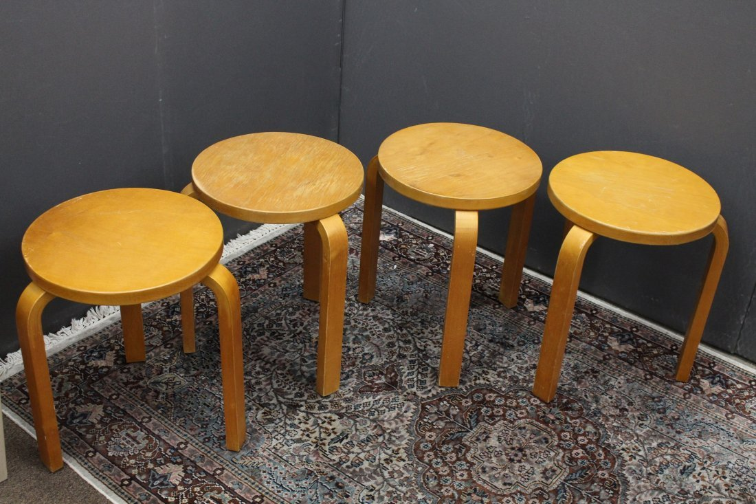 (4) ICF Birch 3 Legged Stools