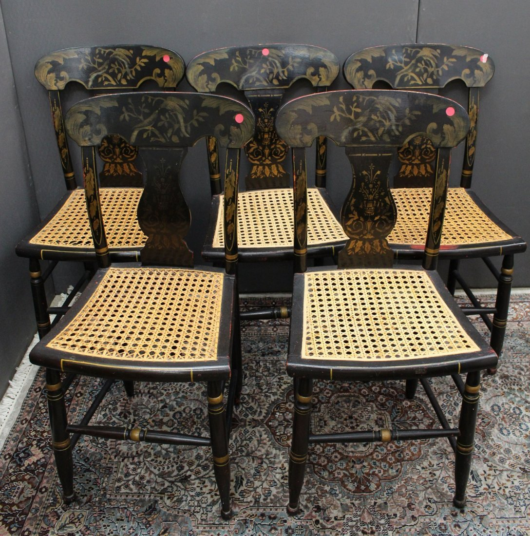 (5) Antique Black Lacquered/Gilt Dining Chairs