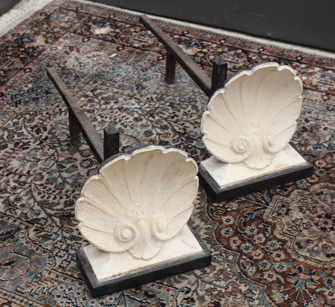 Antique Shell Form Andirons