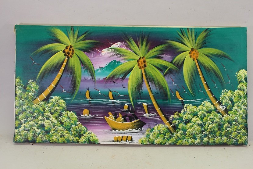 20th C. Tropical Landscape with Boats, Sailboats