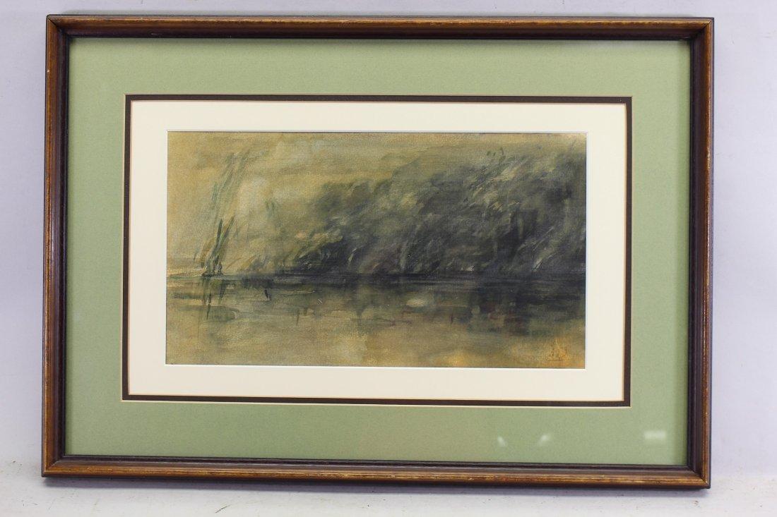 Initialed, Coastal Tonalist Watercolor