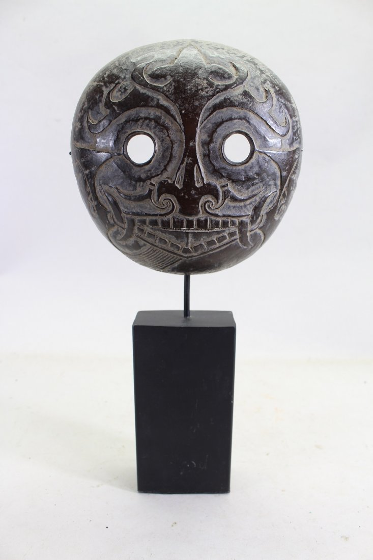 Carved Coconut Tribal Mask on Stand
