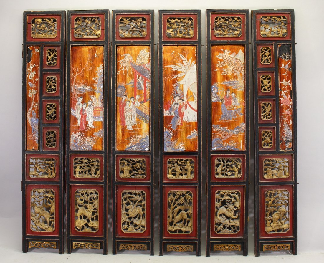 6 Figural Chinese Architectural Panels, Signed