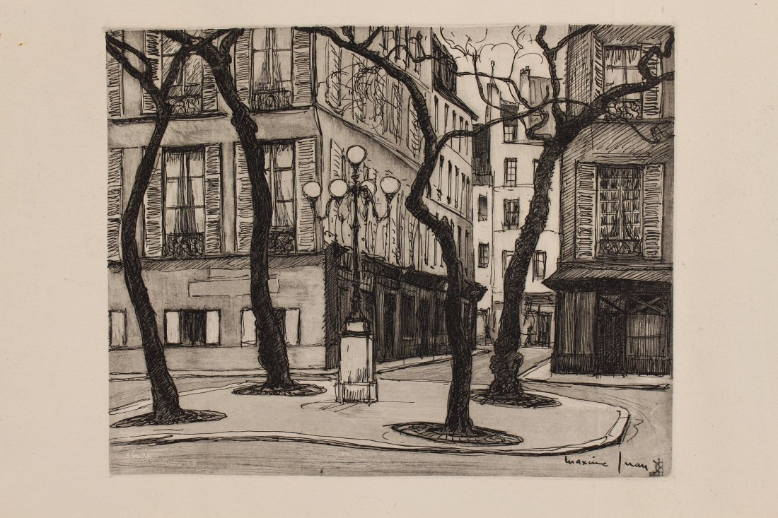 Vintage Etching of a Street Scene, Signed