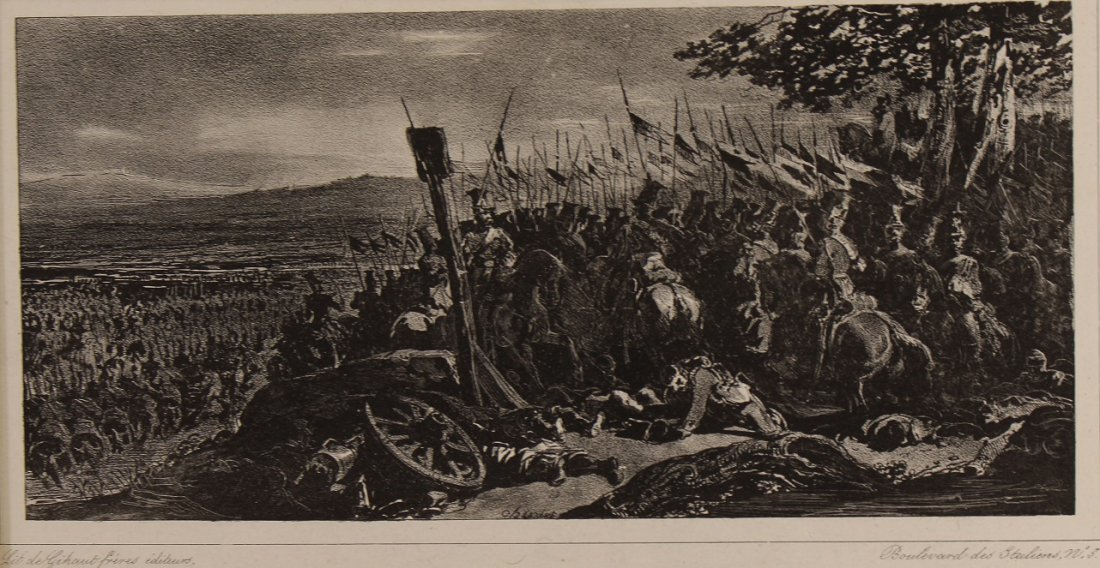 19th C. Lithograph of Napoleon and his Army