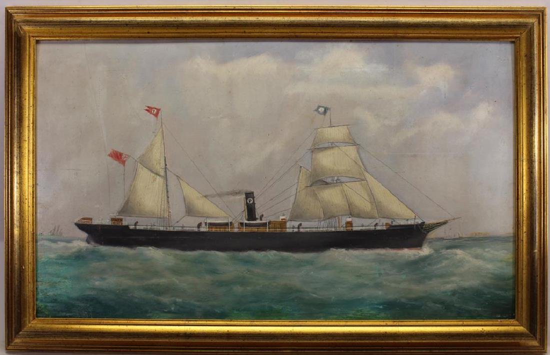 19th C. British School Portrait of a Steamship