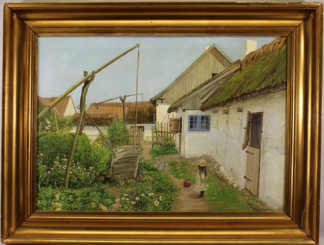 H.C. Langtved-Jensen 1914, Flower Garden Painting