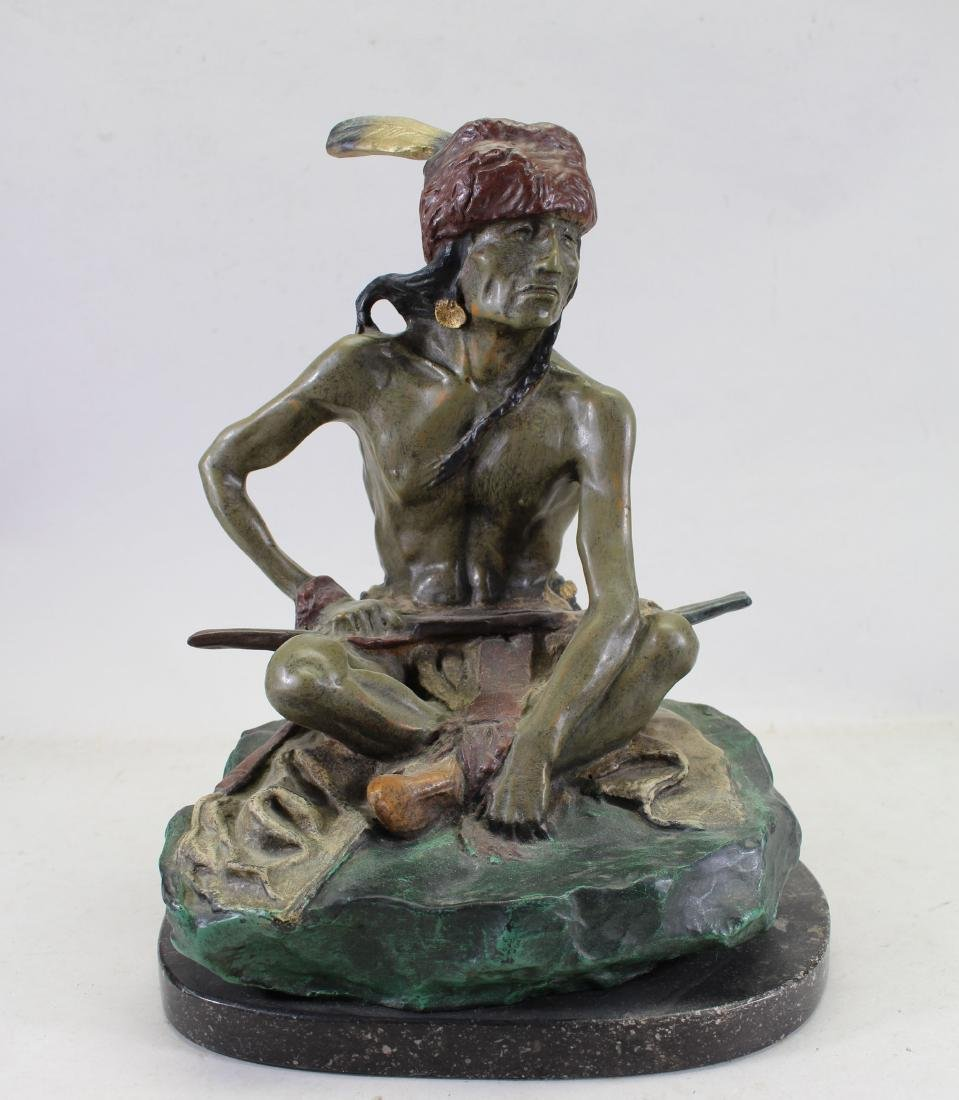 Signed, Bronze Seated Indian Figure on Marble Base