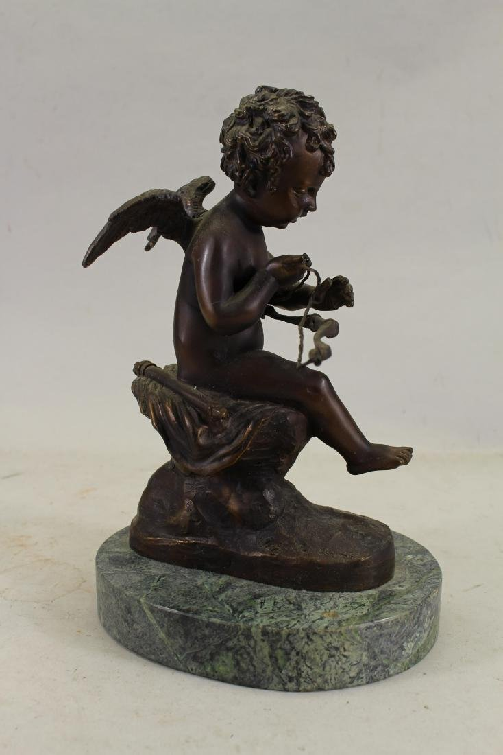Signed French Bronze Cherubic Figure, Marble Base