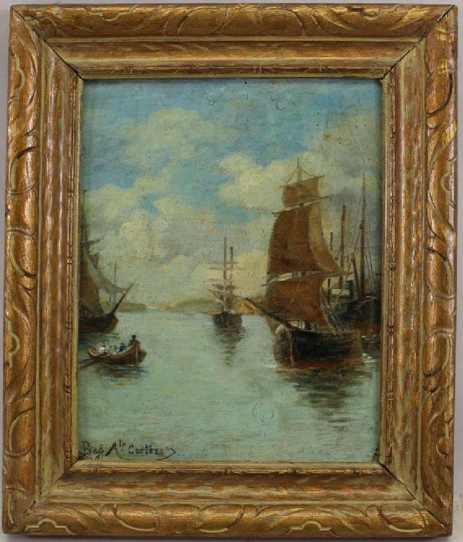 French School, Signed Harbor Scene