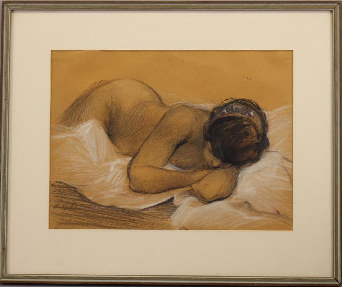 Signed, 20th C. Resting Nude Woman Figure