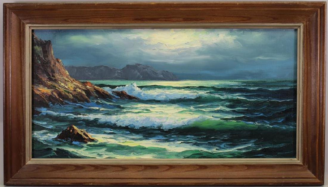 American School, Painting of Coastal Scene. Signed