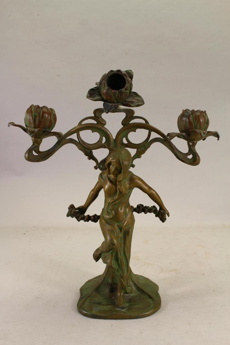 Antique Art Nouveau Gilded 3-Arm Candle Stick