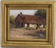 American School, Early 20th C. Painting of a Cabin