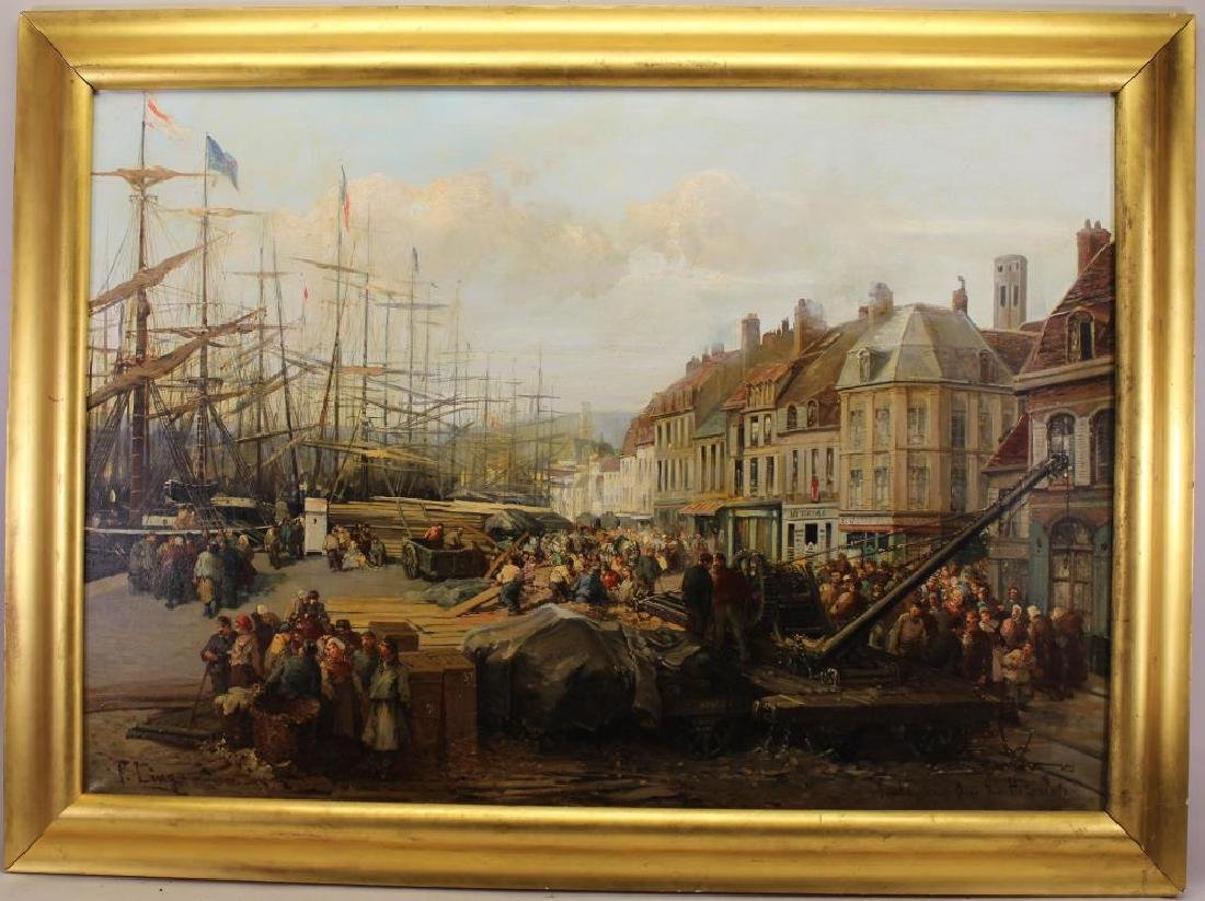 """Paul Ling (Dutch, 19th C.) """"Quay Des Hollandais"""""""
