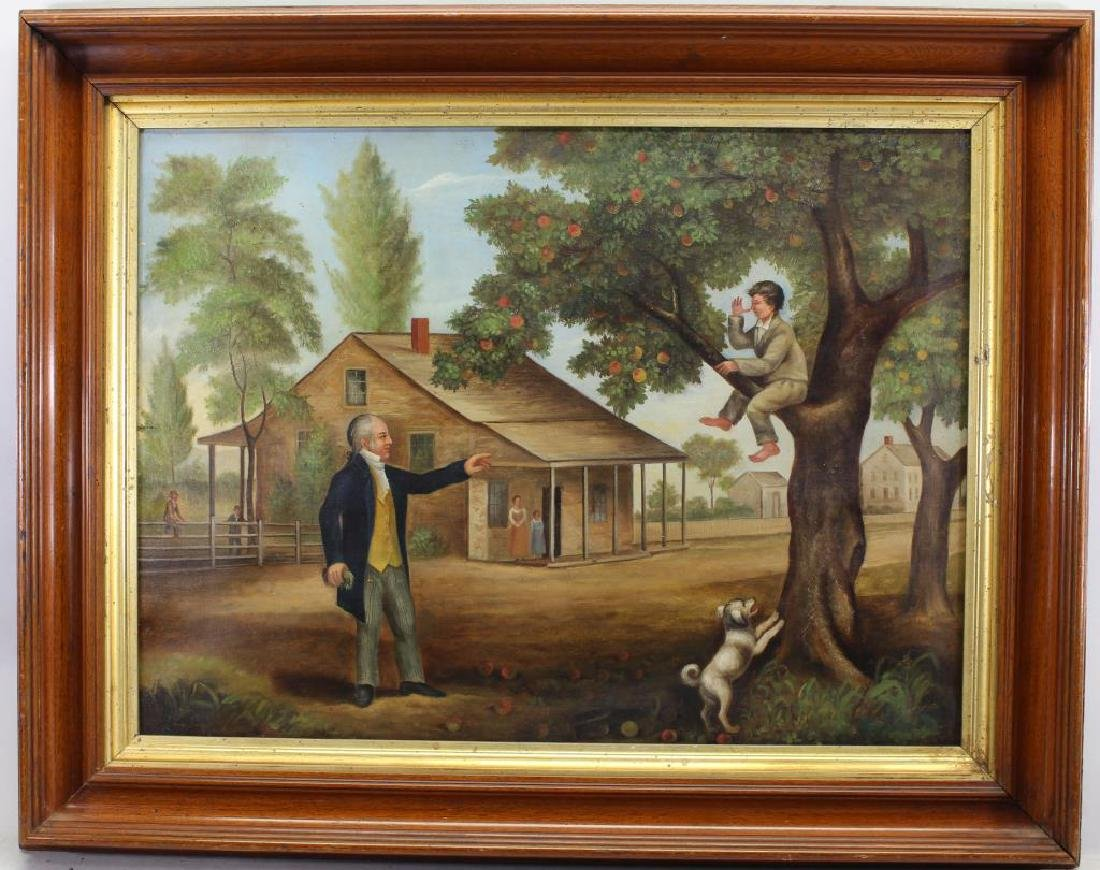 American School 1850's Painting of Child in Tree