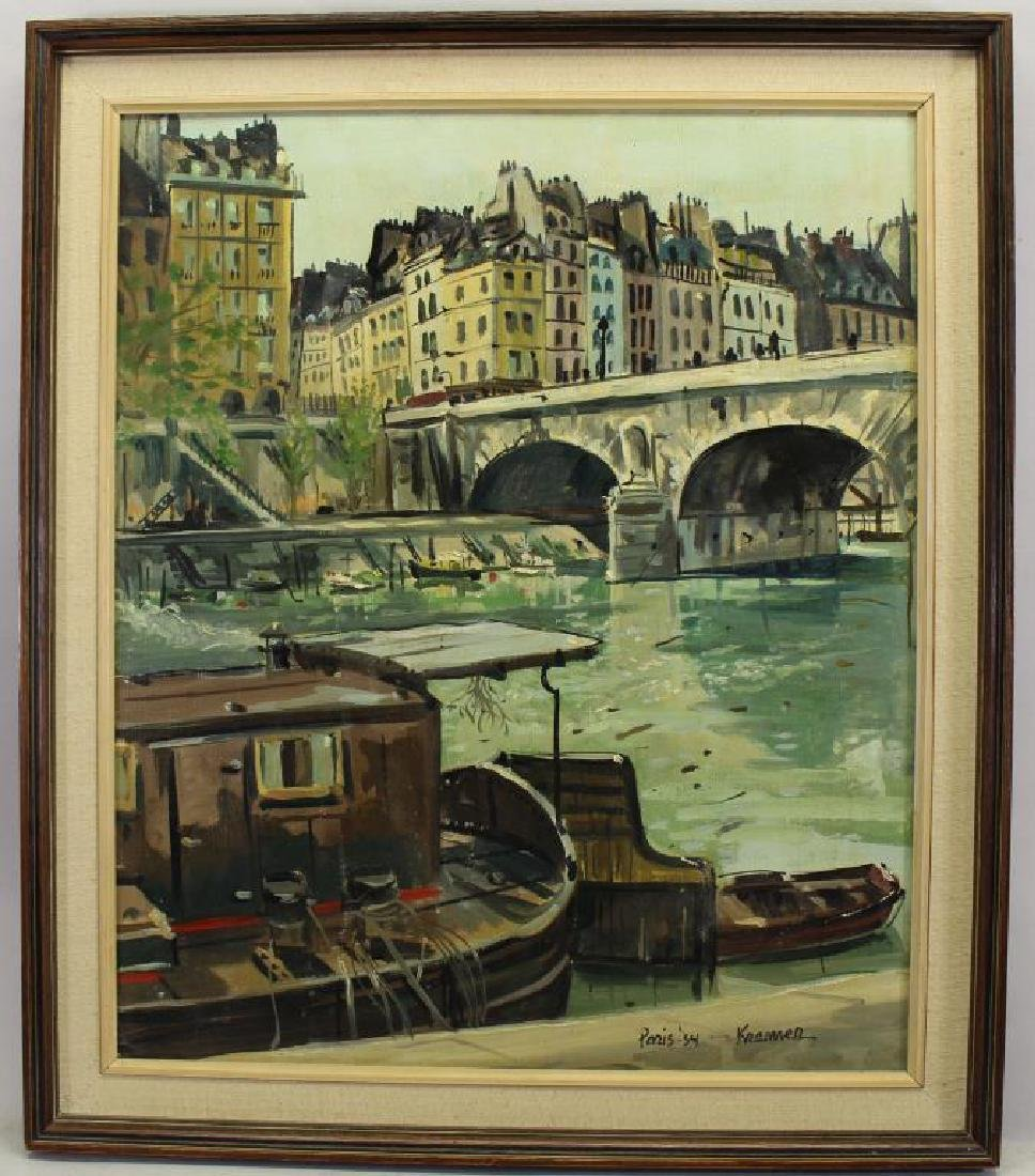 Bridge on the Seine, Paris 1954 Signed Kramer