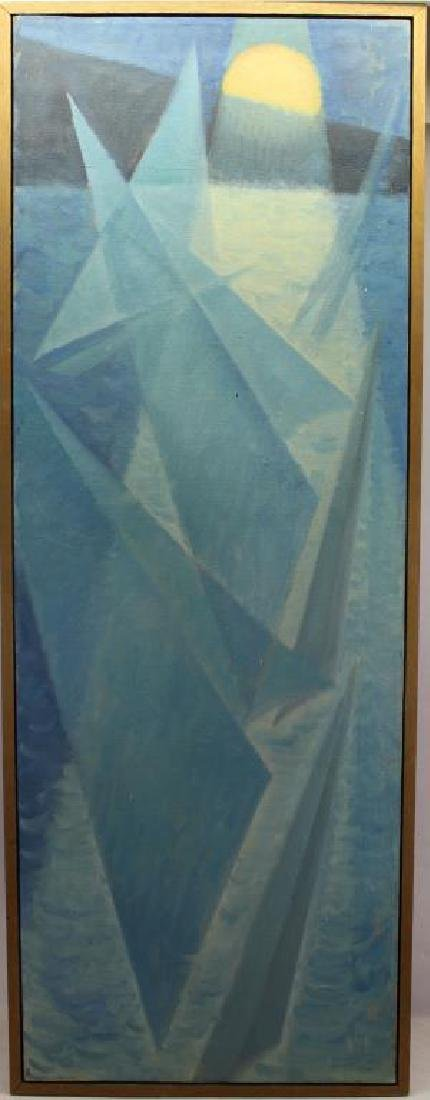Wallace, Vintage Abstract Painting of Sailboats