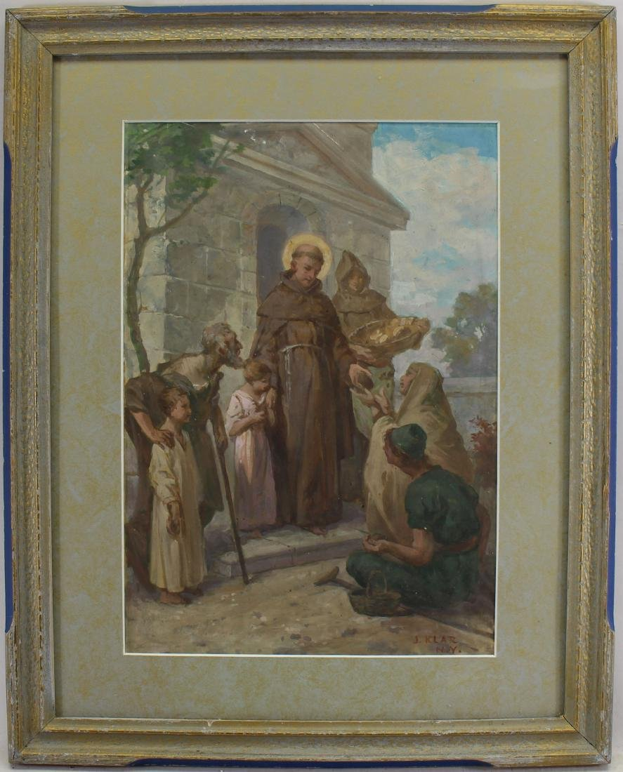 Signed, 19th C. Painting of Jesus with Followers