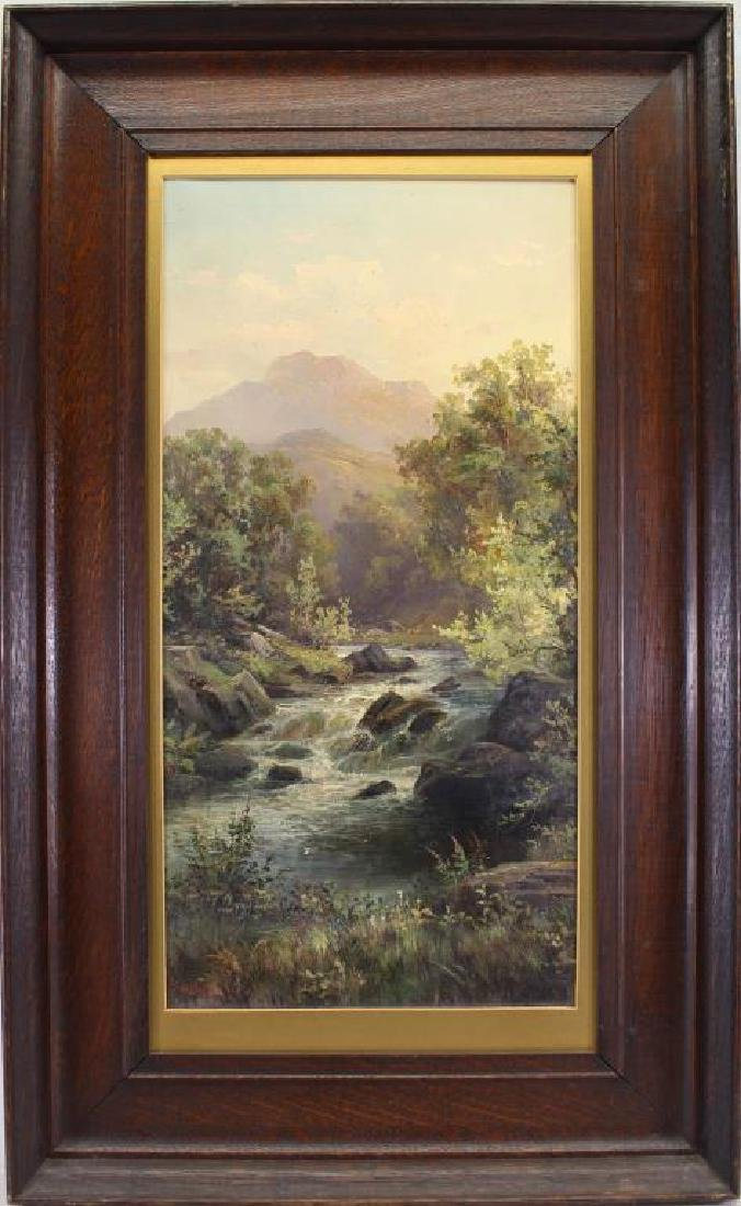 American School, 19th C. Painting of a Stream