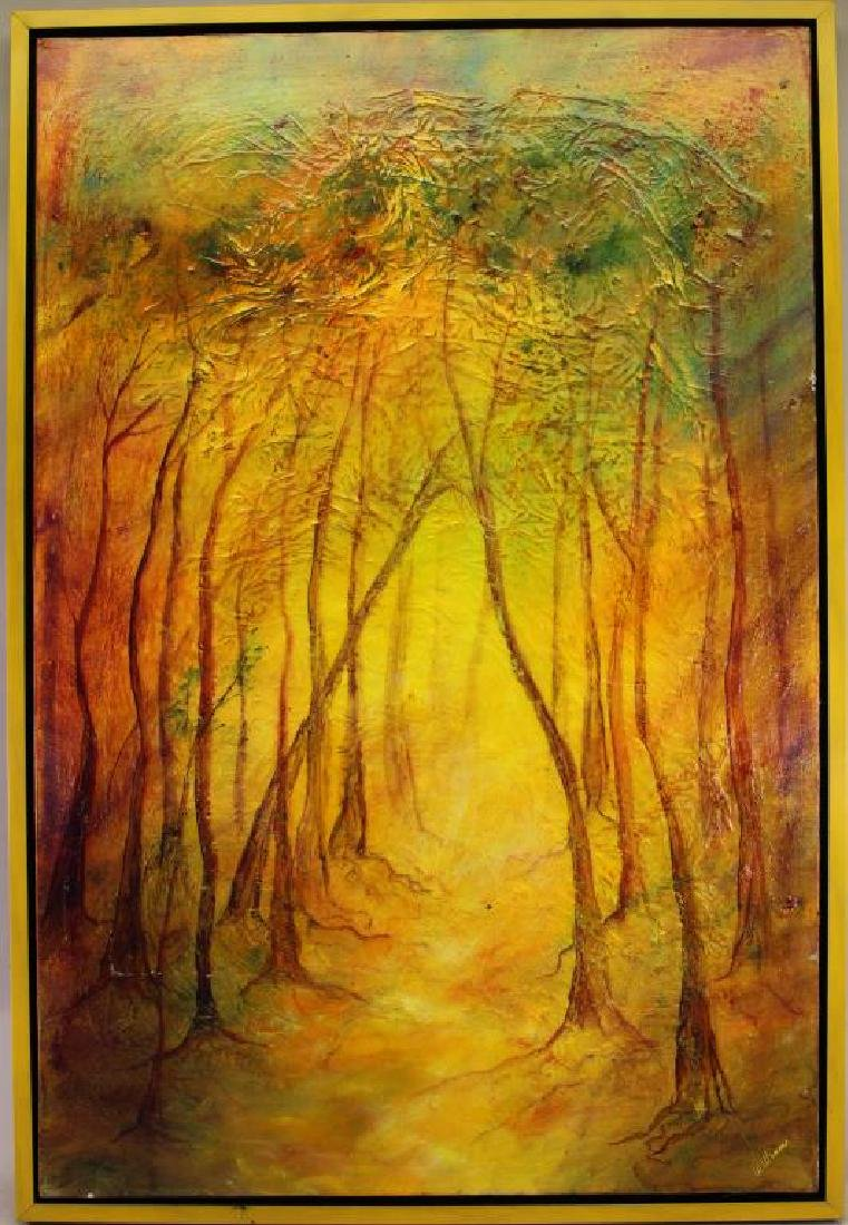Large American School Painting of Wooded Landscape