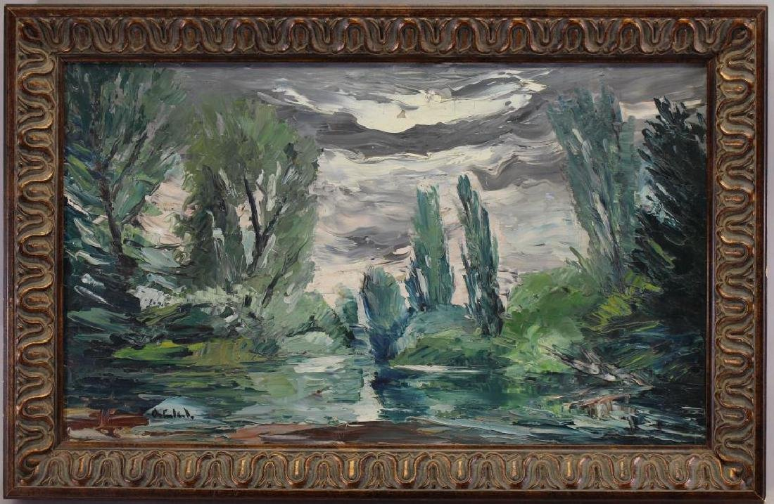 Russian School Signed Painting of Wooded Landscape
