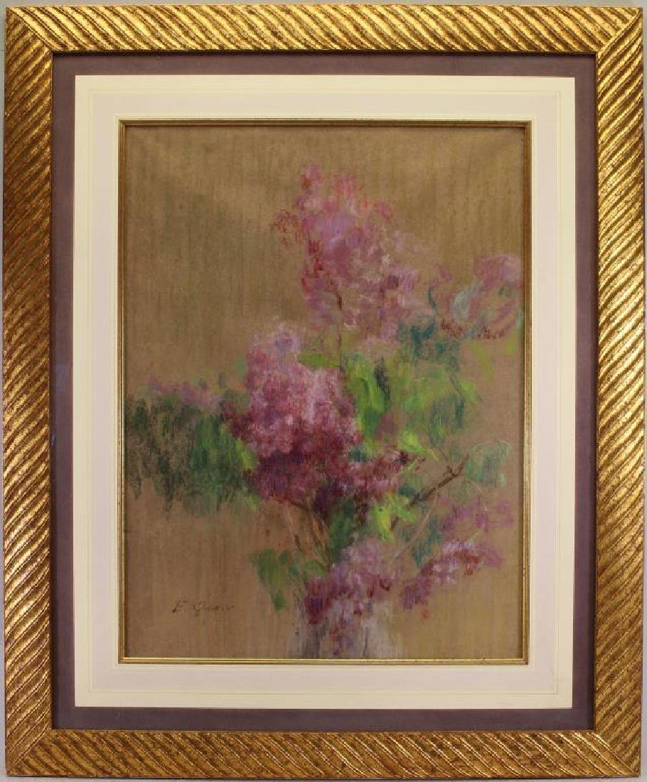 Mixed Media Painting of a Flowers, Signed