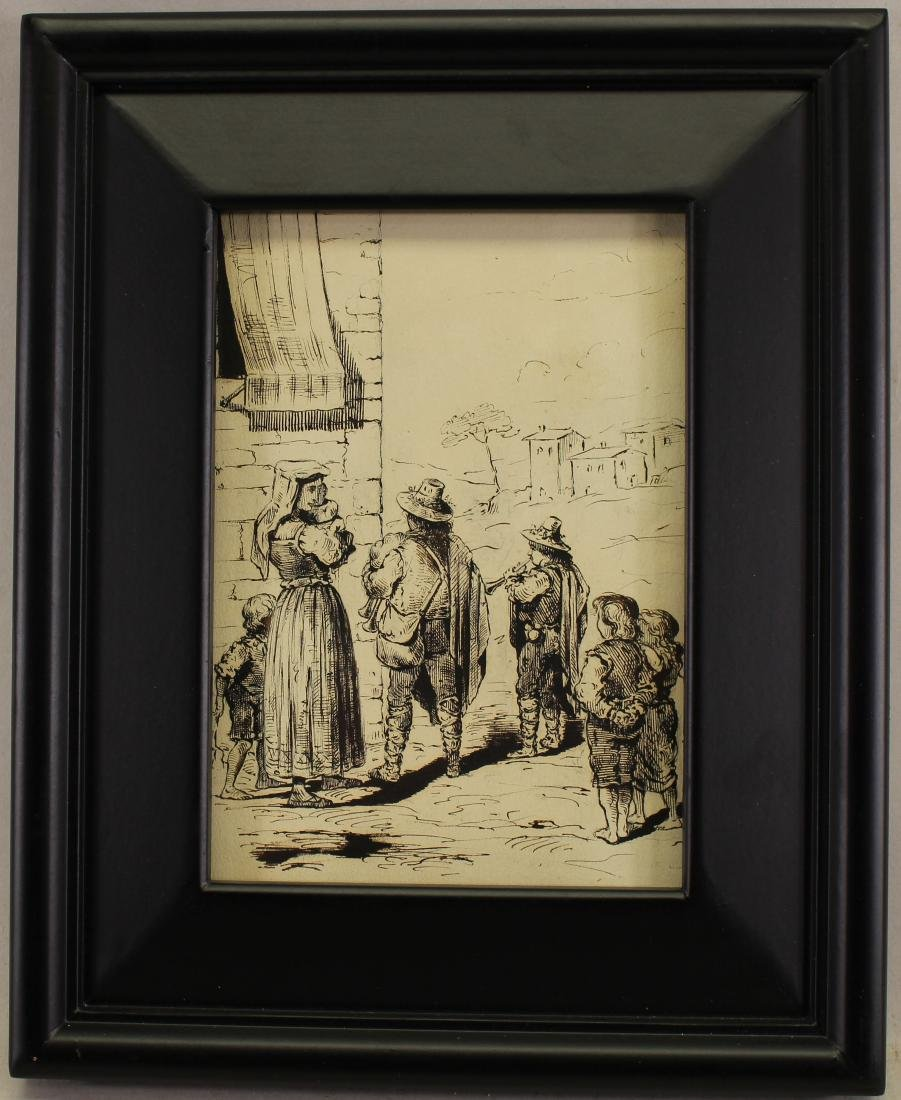 After Rembrandt Etching, Figures Near a Village