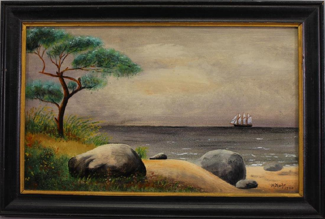 1940 American School, Ship off the Coast. Signed