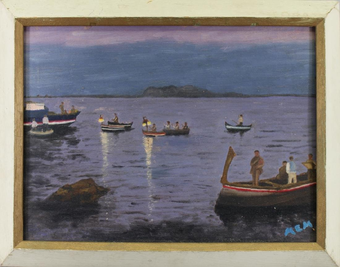 20th C. Italian Coastal Scene with Gondolas