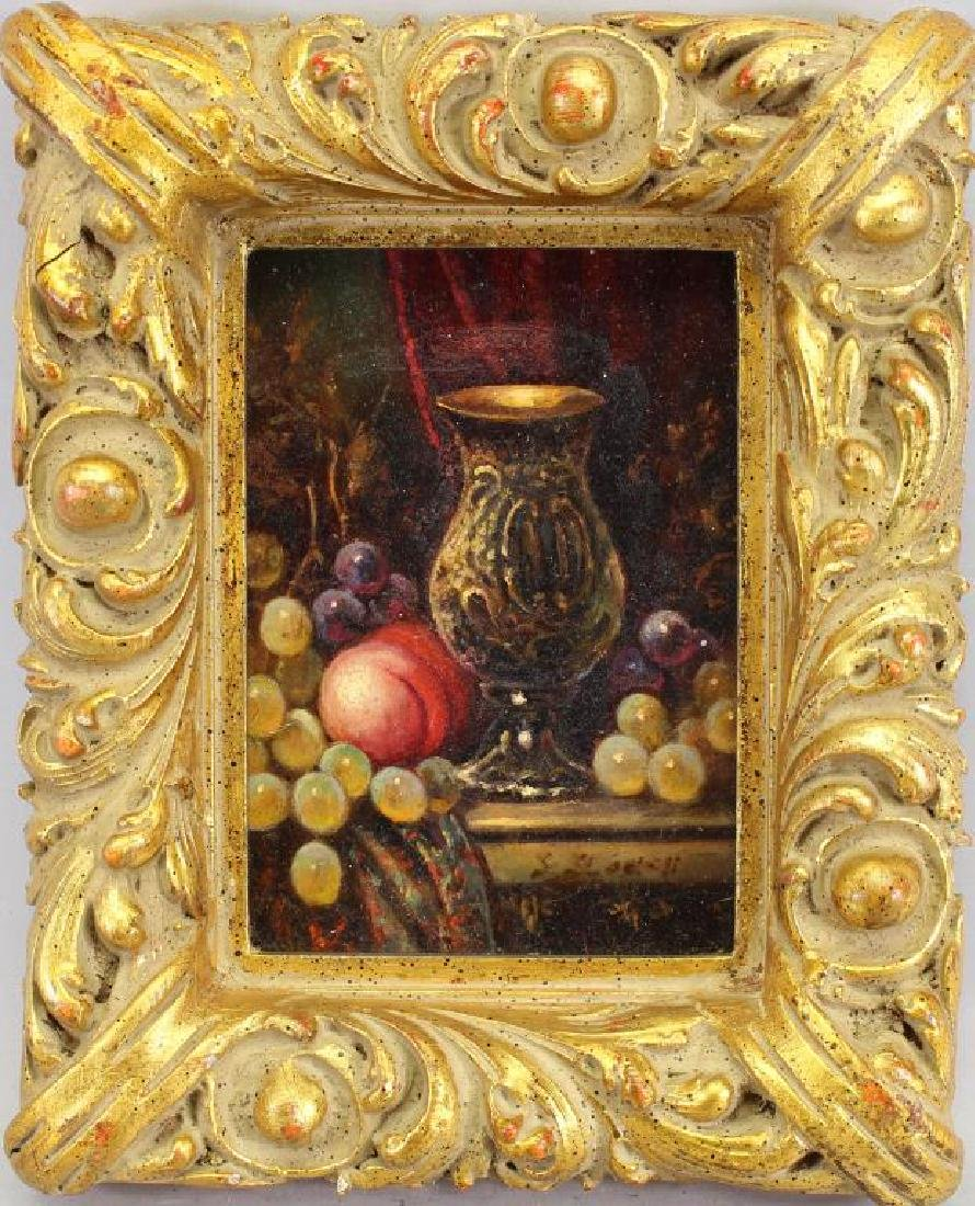 19th C. Still Life Painting of Grapes, Chalice