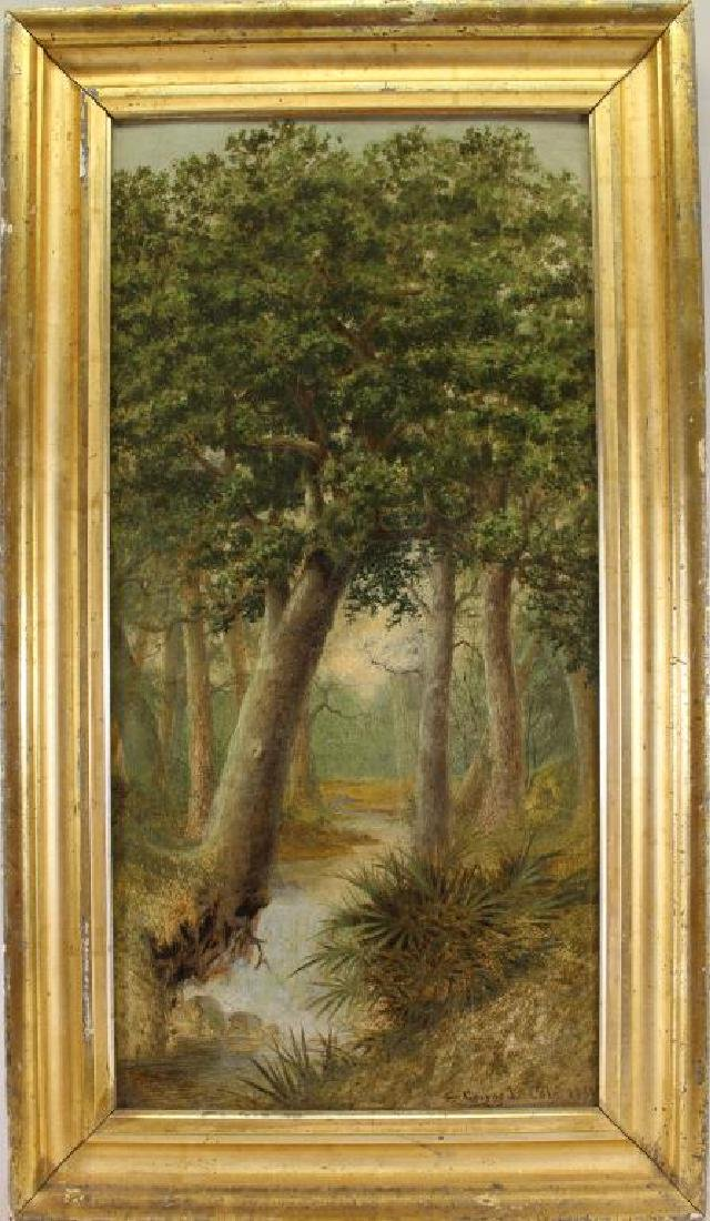 George Cole 1888 Wooded Landscape Painting
