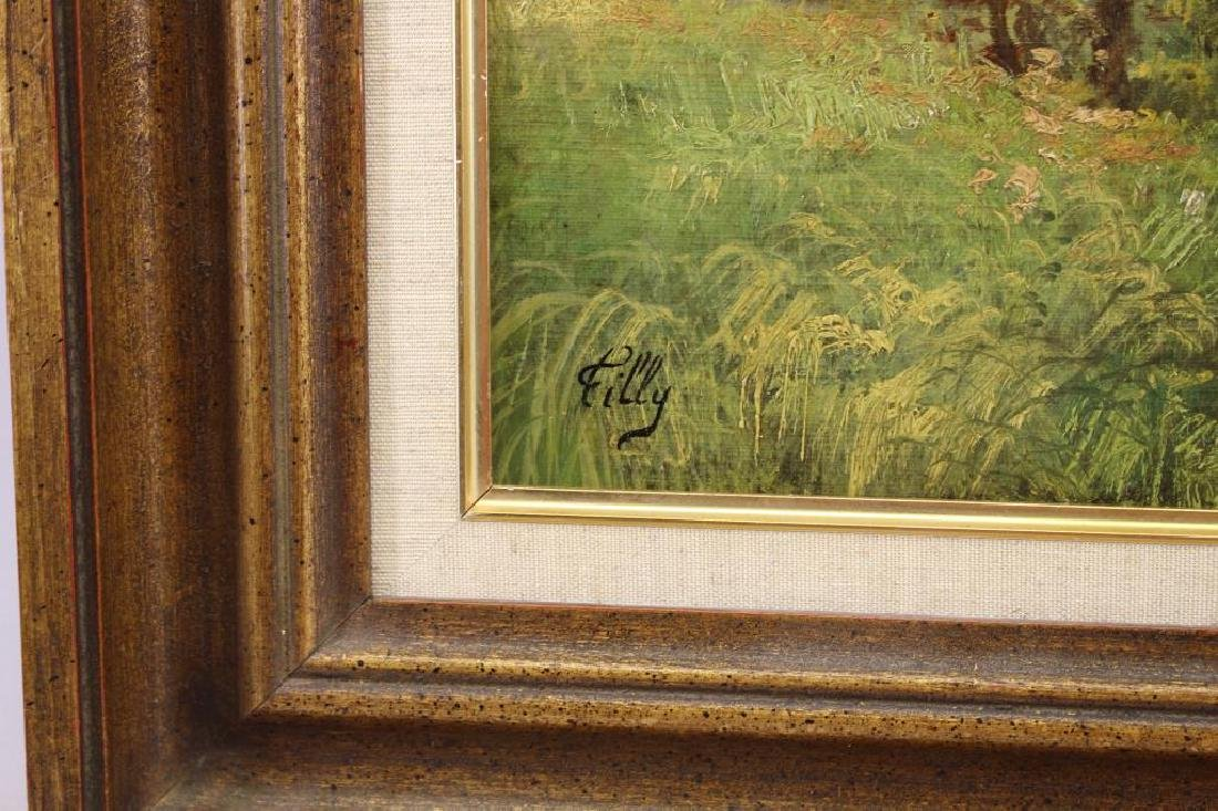 Filly, Signed Antique Spring Landscape Painting - 3