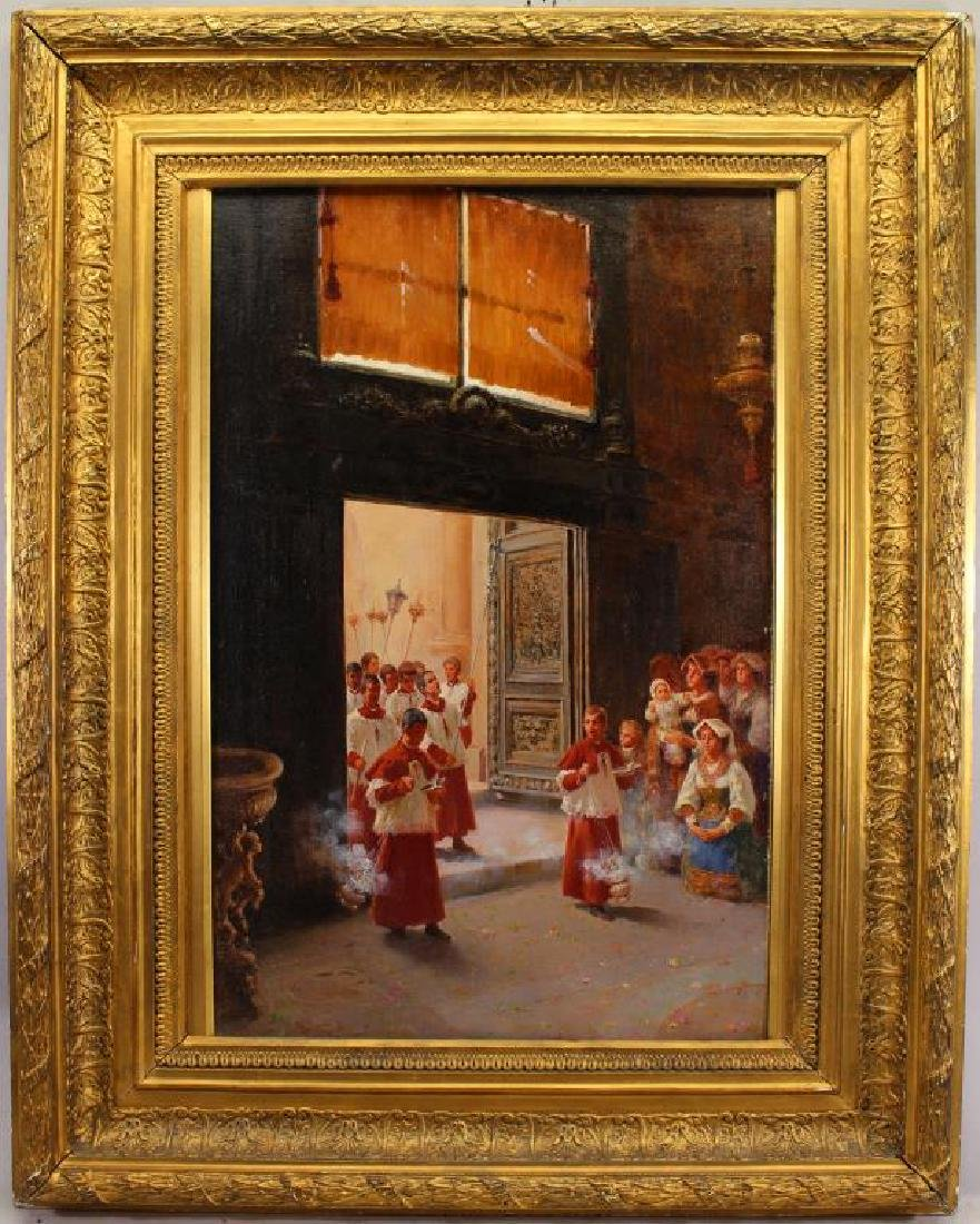 Berganini, Painting of a Catholic Procession. Rome