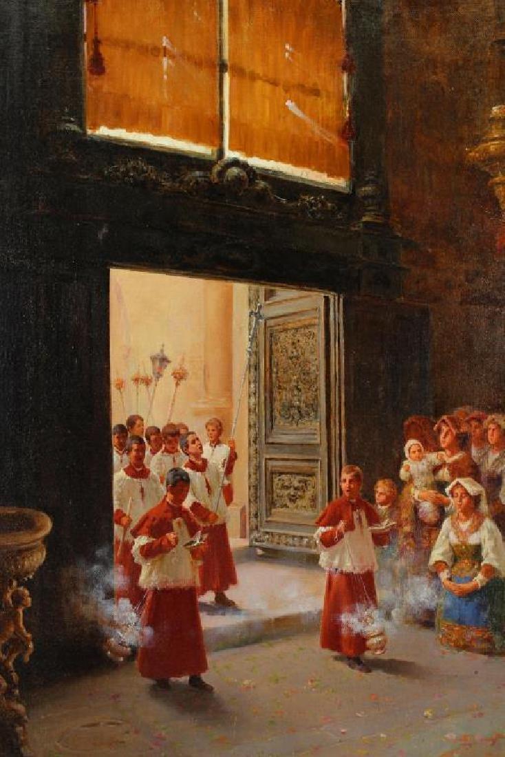 Berganini, Painting of a Catholic Procession. Rome - 2