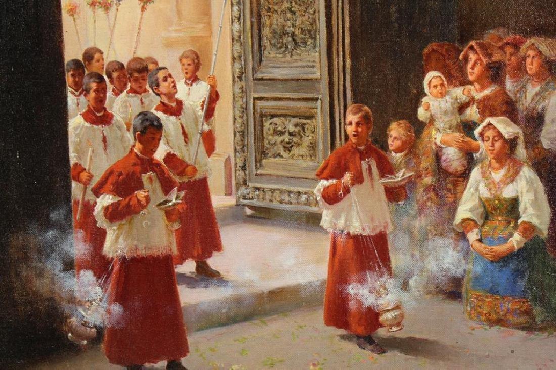 Berganini, Painting of a Catholic Procession. Rome - 3