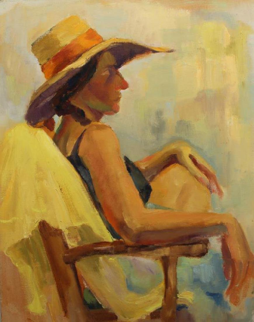American School, Painting of a Woman at the Beach