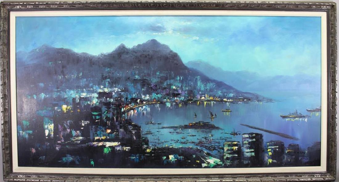 Mid Century Modern Hong Kong Harbor, Signed