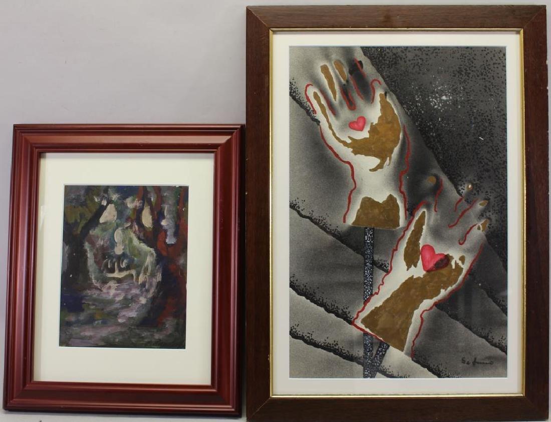 (2) European School Mixed Media Abstract Paintings