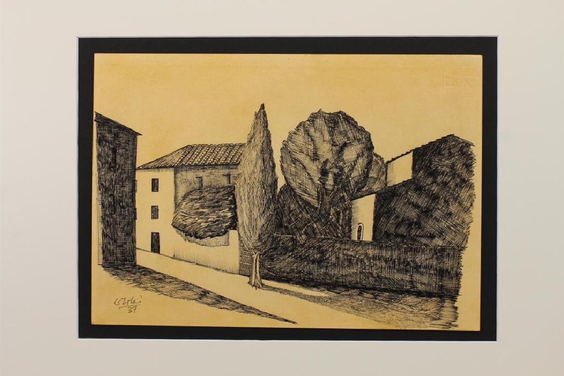 European School, Ink/Paper Sketch of a Village