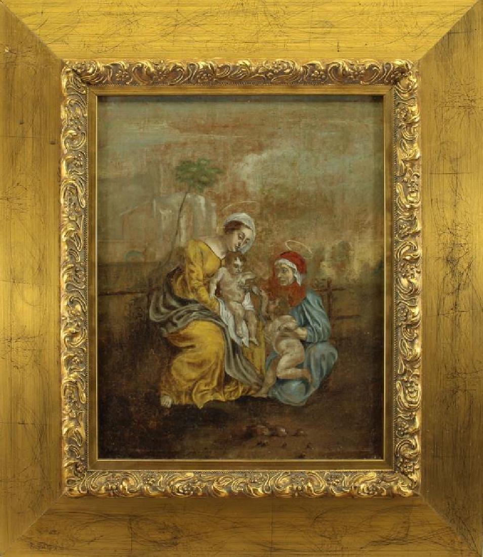 18th C. Oil on Canvas, Jesus & John as Infants