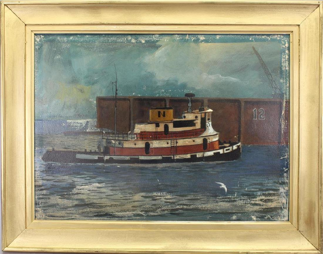 American School, 20th Century Tugboat Painting
