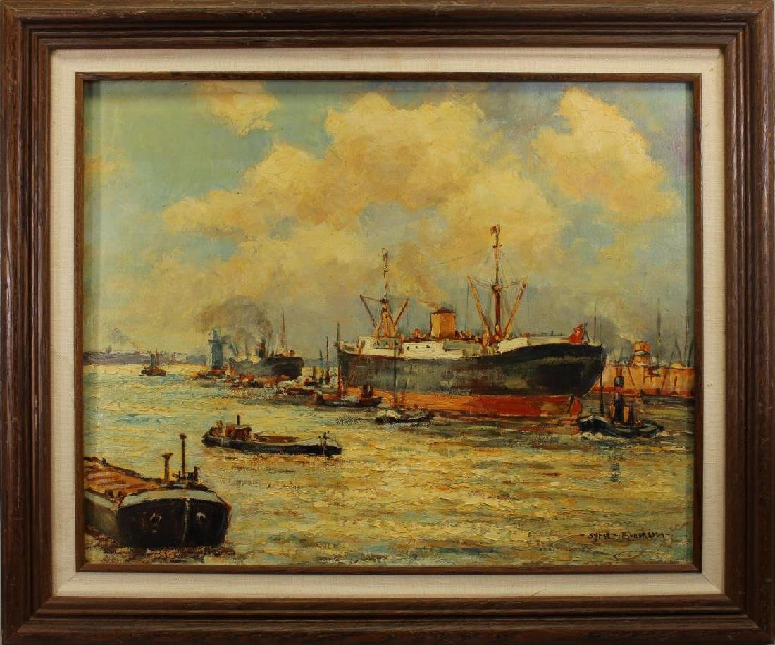 Signed, Early 20th C. Painting of a Harbor Scene