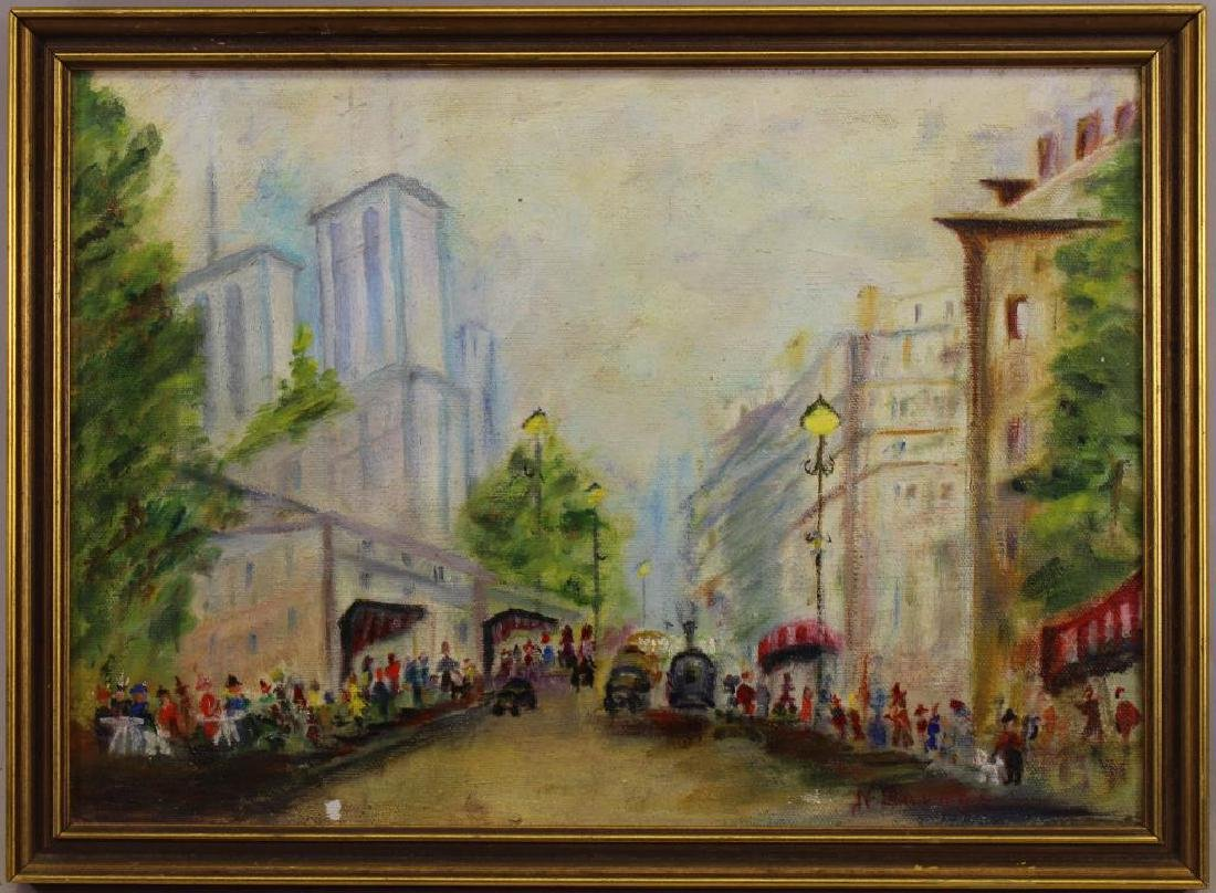 """...Savage"" Signed 20th C. Street Scene"