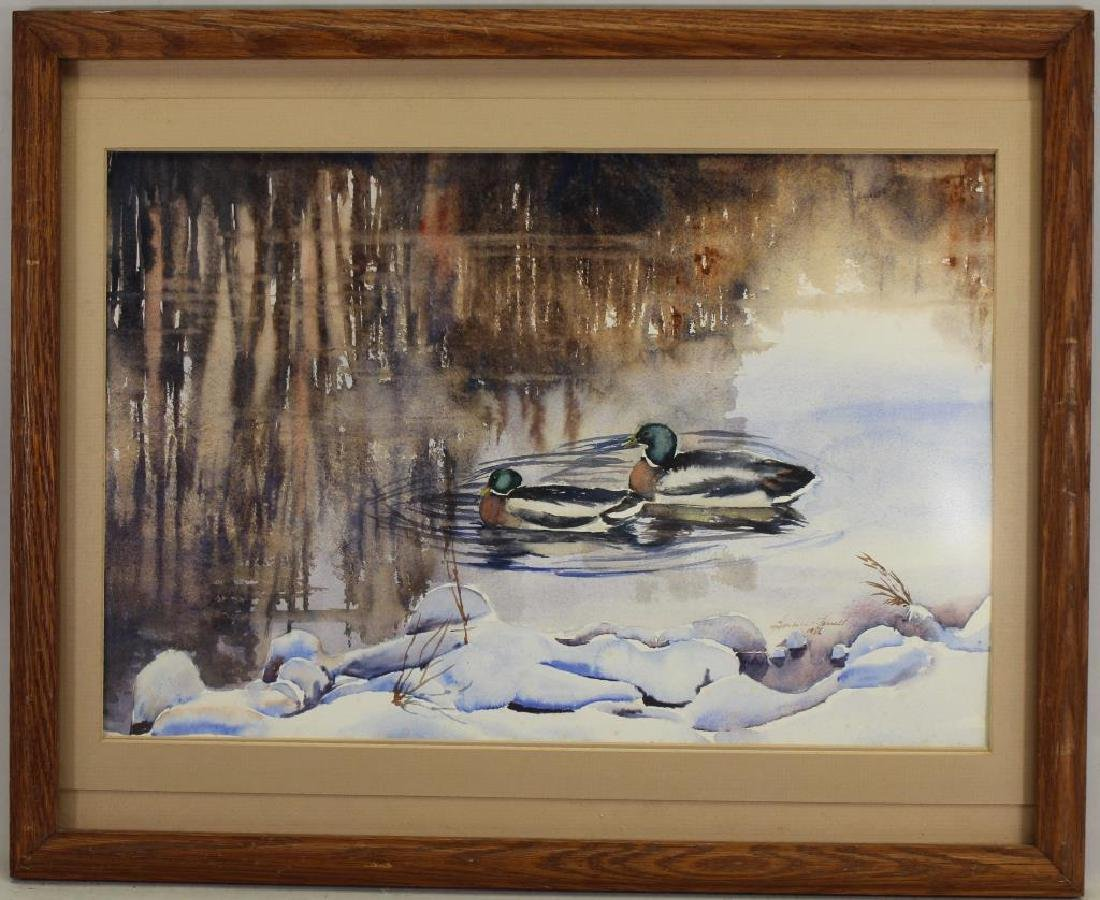 1986 Watercolor of Mallards in a River, Signed