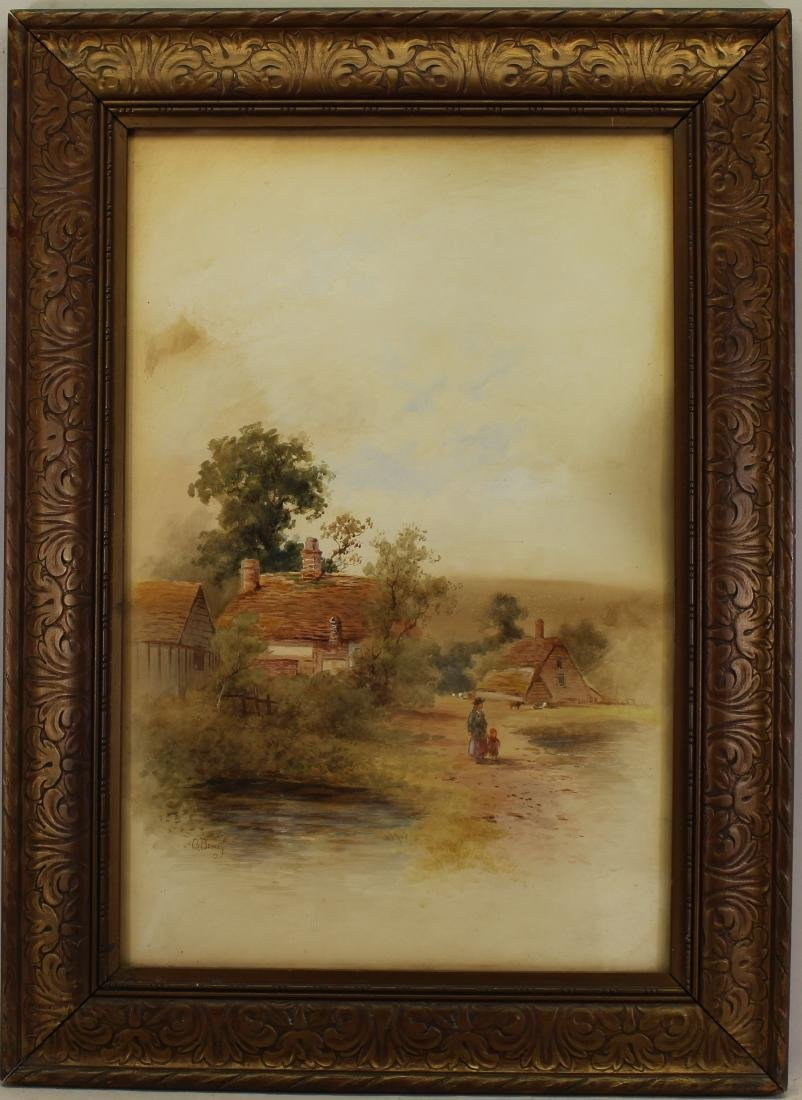 G. Bowers, 19th C. English Village with Figures